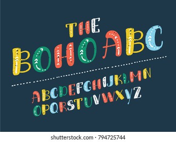 Vector catoon illustation of arrows font, capital English alphabet. ABC in different colors on dark background.