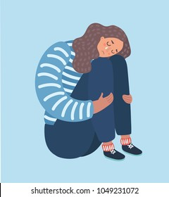 Vector catoon illustration of sad girl sitting and unhappily hugging her knees and cry. Woman in depression.