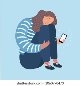 Vector catoon illustration of a teenage Girl Crying Over What She Saw on Her Phone. Dislike, parting, disappointment, depression, sadness, social media, other person's stylelife.