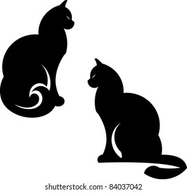 Vector cats illustration isolated on white