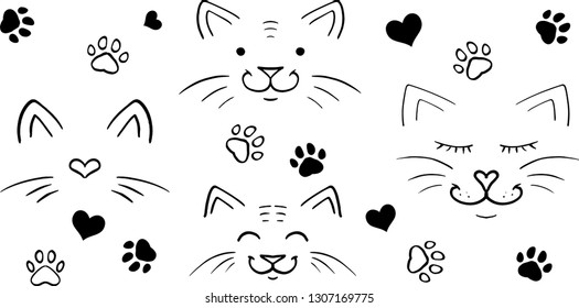 Vector Cats - paws - hearts