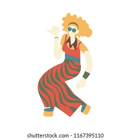 Vector caucasian woman dancing in retro 70s disco style. Flat silhouette illustration with attractive blonde hippie girl at vintage 80s party. Female dancer character, isolated illustration.