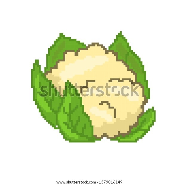 Vector Cauliflower Concept Pixel Art Stock Vector Royalty