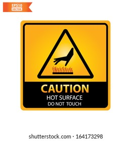 Vector: Caution with hot surface do not touch text and sign isolated no white background. Eps10.