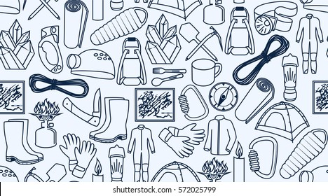 vector caving and climbing line icons background texture seamless pattern