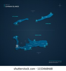 Vector Cayman Islands map illustration with blue neon lightpoints - triangle on dark blue gradient background. Administrative divisions, cities, borders, capital. Neon tech background with glow.