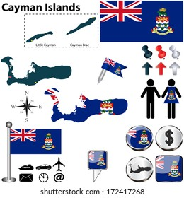 Vector of Cayman Islands set with detailed country shape with region borders, flags and icons