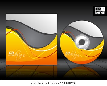 Vector CD cover in blue color with 3D green circles and space for your text. EPS 10. Vector illustration.