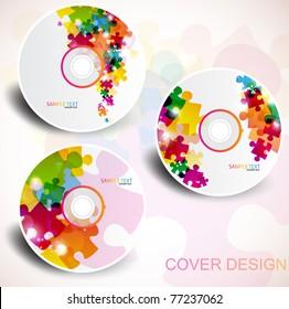 Vector CD cover design. Editable templates. Puzzle Design