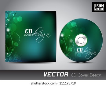 Vector CD cover design with shiny green abstract design with wave background for your business. EPS 10.