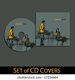 vector cd cover design template with grunge background