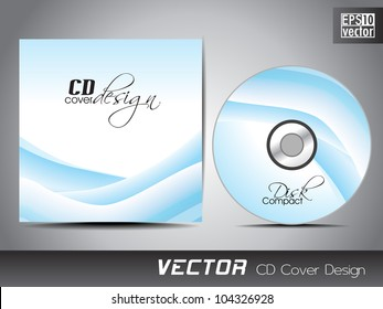 Vector CD cover design with wave pattern in blue color. EPS 10. Vector illustration.