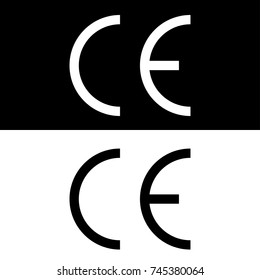 Vector CE mark, Vector CE symbol on black and white backgrounds