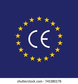 Vector CE mark, Vector CE symbol on flag Europe