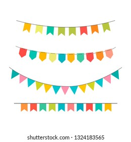 Vector celebrate background party flags with confetti