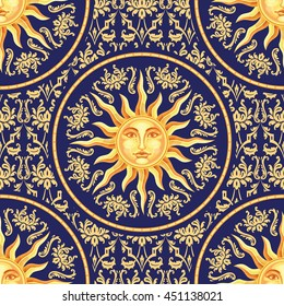 Vector celestial baroque blue and gold seamless pattern with sun face