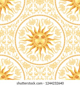 Vector celestial baroque yellow and gold seamless pattern with sun face on white background