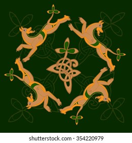 Vector celtic Irish pattern with knots and clovers in golden and green colors