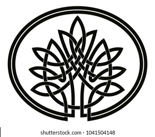 Vector Celtic national drawing. Tree of life isolated on white background.