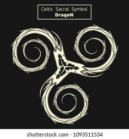 Vector celtic sacral symbols. Dragon. Magic sign. Sacred geometry. Sacred symbol of Vikings. Ancient sacral sign of Celts. Alchemy; religion; philosophy; astrology and spirituality. Vector.