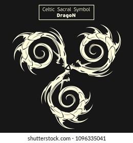 Vector celtic sacral symbols. Dragon. Triskel. Magic sign. Sacred geometry. Sacred symbol of Vikings. Ancient sacral sign of Celts. Alchemy, religion, spirituality. Vector illustration.