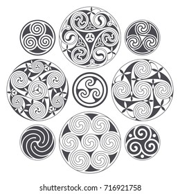 Vector celtic spiral design for prints, tattoo and decoration. Geometric vector design
