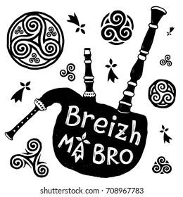"Vector Celtic symbols and biniou (breton bigpipe) silhouette with sign ""Breizh Ma Bro"" (Brittany My Country)"