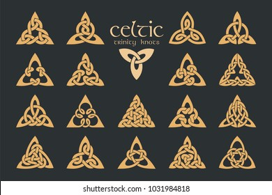 Vector celtic trinity knot. 18 items. Ethnic ornament. Geometric design. Vector illustration set