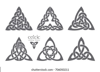 Vector celtic trinity knot part 3. Ethnic ornament. Geometric design. Vector illustration set