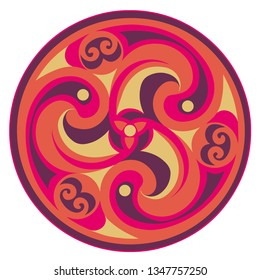 Vector celtic triskelion spiral symbol. Motif of twisted triple spiral, exhibiting rotational symmetry. In orange, purple pink tone. Ancient, vintage style. For tile, web, label, stickers, decor, logo