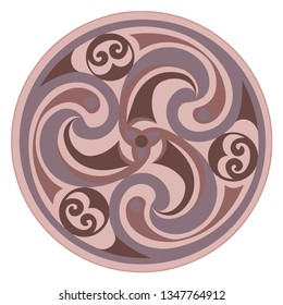 Vector celtic triskelion spiral symbol. Motif of twisted triple spiral, exhibiting rotational symmetry. In brown colors. Ancient, vintage style. For tile, web, label, stickers, decor, logo