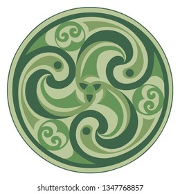 Vector celtic triskelion spiral symbol. Motif of twisted triple spiral, exhibiting rotational symmetry. In green pastel tones. Ancient, vintage style. For tile, web, label, stickers, decor, logo