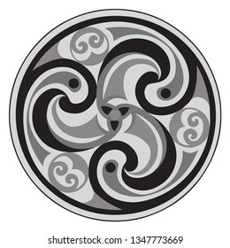 Vector celtic triskelion spiral symbol. Motif of twisted triple spiral, exhibiting rotational symmetry. In black and grey tones. Ancient, vintage style. For tile, web, label, stickers, decor, logo