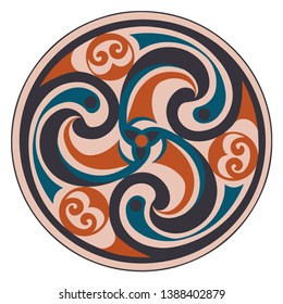 Vector celtic triskelion spiral symbol. Motif of twisted triple spiral, exhibiting rotational symmetry. In red, blue tones. Ancient, vintage style. For tile, web, label, stickers, decor, logo