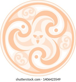 Vector celtic triskelion spiral symbol. Motif of twisted triple spiral, exhibiting rotational symmetry. In light orange tones. Ancient, vintage style. For tile, web, label, stickers, decor, logo