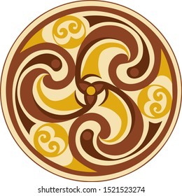 Vector celtic triskelion spiral symbol. Motif of twisted triple spiral, exhibiting rotational symmetry. In orange, brown tones. Ancient, vintage style. For tile, web, label, stickers, decor, logo