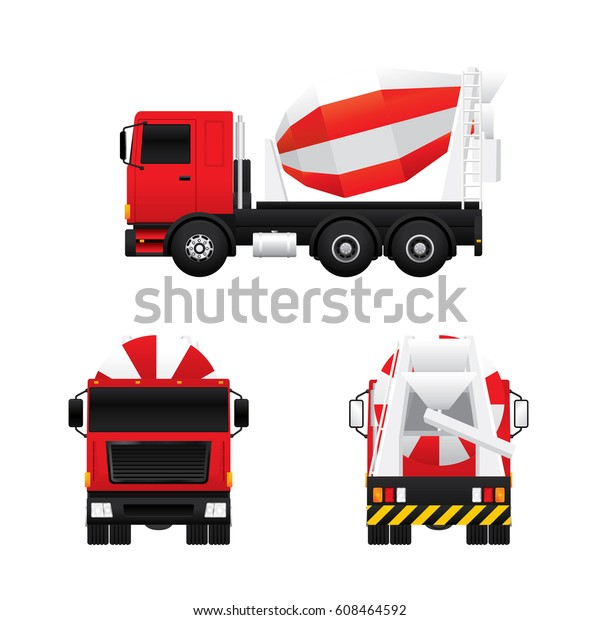 Vector Cement Mixer Truck Different Views Stock Vector (Royalty Free