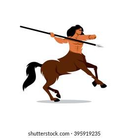 Vector Centaur Warrior Cartoon Illustration. Man horse ready to throw javelin. Branding Identity Corporate logo design template Isolated on a white background