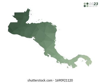 Vector of Central America map green polygon triangle mosaic with white background. style gradient.