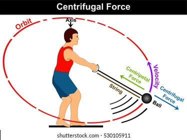 Vector Centrifugal Force Diagram simple easy example of athlete playing hammer game sport and moving the ball in circle before throwing it direction of velocity centripetal force axis orbit string