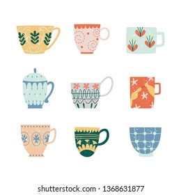 Vector ceramic crockery cup collection decorated with abstract floral pattern. Faience teacup, breakfast porcelain pottery set. Traditional home dishware. kitchen drink mug. Isolated illustration.