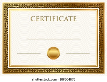 Vector certificate of achievement with gold frame and seal