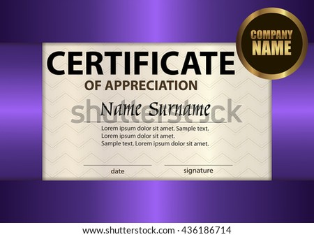 vector certificate of appreciation template award winner reward winning the competition the