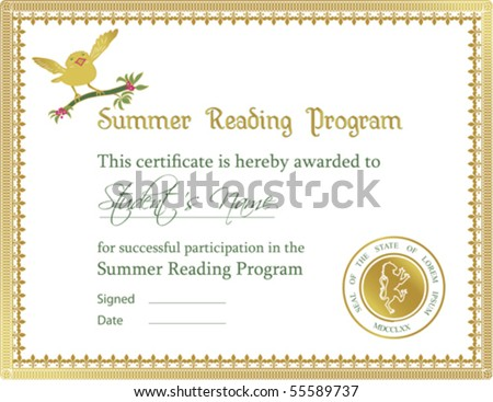Vector Certificate Completion Template A Jpg Stock Vector Royalty