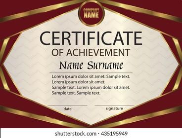 vector certificate diploma template award winner stock vector