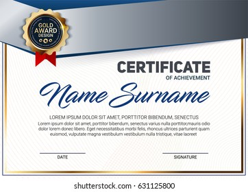 Vector certificate or diploma template with line pattern and luxury gold award emblem.