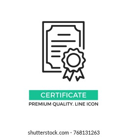 Vector certificate icon. Achievement, award, grant, diploma concepts. Premium quality graphic design elements. Modern sign, linear pictogram, object, outline symbol, simple thin line icon
