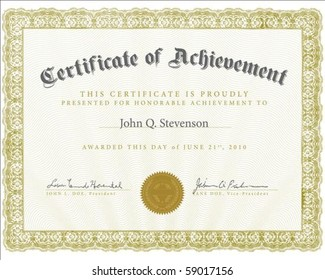Vector certificate with sample and outlined text. Perfect for any formal certificate. All pieces are separate. Easy to change colors and edit.