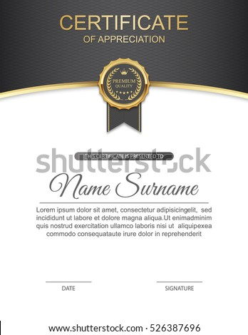Vector Certificate Template Stock Vector Royalty Free 526387696