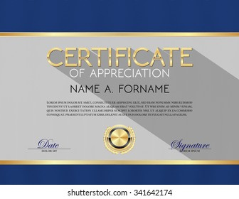 Vector Certificate Template of Appreciation Blue